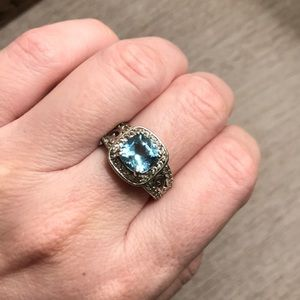 Jewelry - Sterling Swiss Blue Topaz & Diamond Accent Ring!